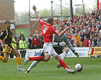 Photo: Steve Bond/Richard Lane Photography. <br />Nottingham Forest v Yeovil Town. Coca-Cola Football League One. 03/05/2008. Keeper Steve Mildenhall is ropunded by Nathan Tyson (front)
