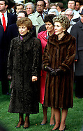 A 22 MG FILE FROM FILM OF:.Nancy Reagan and Raisa Gorbachev wearing fur coats at an State arrival ceremony on the South lawn of the White House. Photo by Dennis Brack
