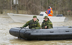 Members of the Canadian army patrol the Rigaud River, west of Montreal, Monday, May 8, 2017, following flooding in the region. Photo by Graham Hughes /The Canadian Press/ABACAPRESS.COM