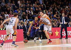 November 17, 2017 - Barcelona, Catalonia, Spain - San Van Rossom and Phil Pressey during the match between FC Barcelona v Anadolou Efes corresponding to the week 8 of the basketball Euroleague, in Barcelona, on November 17, 2017. (Credit Image: © Joan Valls/NurPhoto via ZUMA Press)