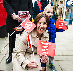 Pictured: Kezia Dugdale met Lewis Paterson (aged 4) as she started the election campaign in earnest<br /> <br /> Scottish Labour leader, Kezia Dugdale began her Party's Holyrood election campaign by joining supporters at a street stall in Morningside in Edinburgh today. She was joned by local candidate Daniel Johnston<br /> <br />  Ger Harley | EEm 23 March 2016