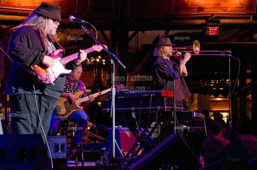 Papa Mail, George Porter (background) & Matt Hubard on Trombone. 7 Walkers in Concert in The Wolfs Den at Mohegan Sun Casino on December 9, 2010