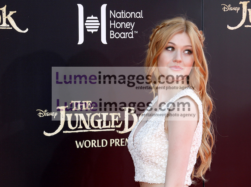 Katherine McNamara at the World premiere of 'The Jungle Book' held at the El Capitan Theatre in Hollywood, USA on April 4, 2016.