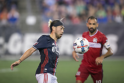 June 17, 2017 - Foxborough, Massachusetts - June 17, 2017: In a Major League Soccer (MLS) match, Chicago Fire (red) defeated the New England Revolution (blue/white) 2-1 at Gillette Stadium. (Credit Image: © Tim Bouwer/ISIPhotos via ZUMA Wire)