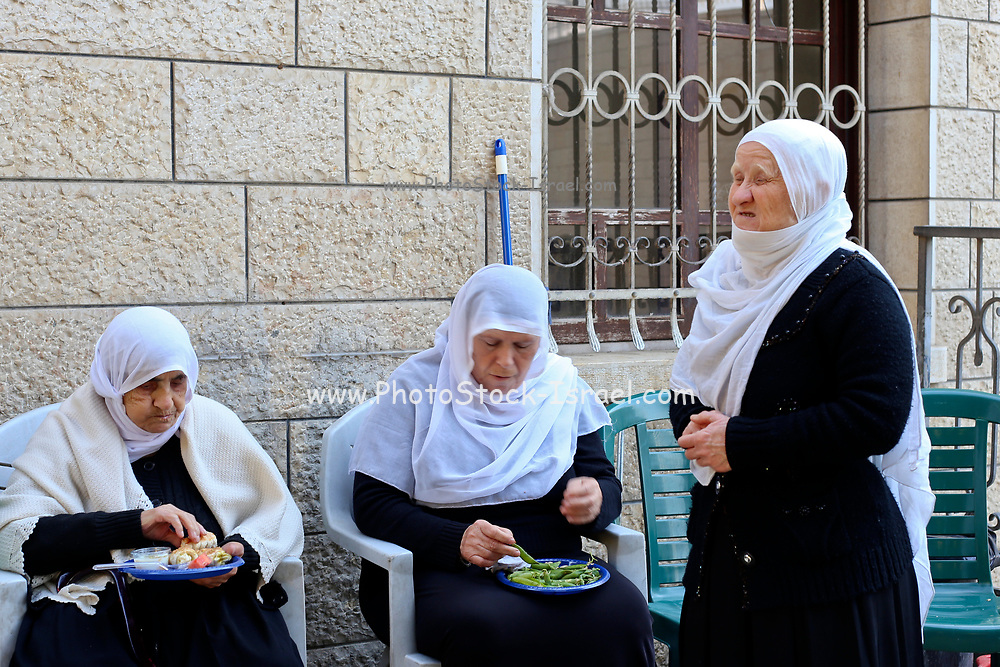 Women, in traditional clothes at a Druze Village, Galilee, Israel