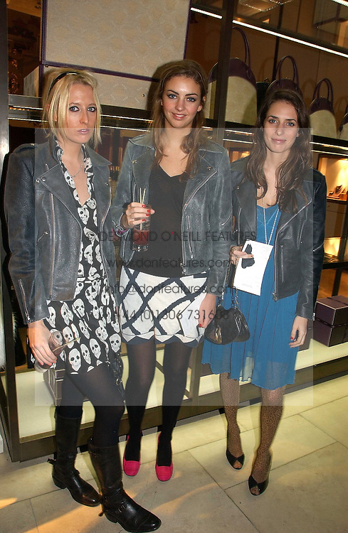 Left to right, the HON.SOPHIA HESKETH, ROSE HANBURY and MARINA HANBURY at a Christmas party to celebrate the 225th Anniversary of Asprey held at their store 167 New Bond Street, London on 7th December 2006.<br /><br />NON EXCLUSIVE - WORLD RIGHTS