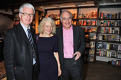 Left to right, SIR PETER STOTHARD, his wife SALLY EMERSON and MICHAEL HOWARD at a party to celebrate the publication of Sandra Howard's new book - Ex-Wives held at Daunt Books, 83 Marylebone High Street, London W1 on 30th April 2012.