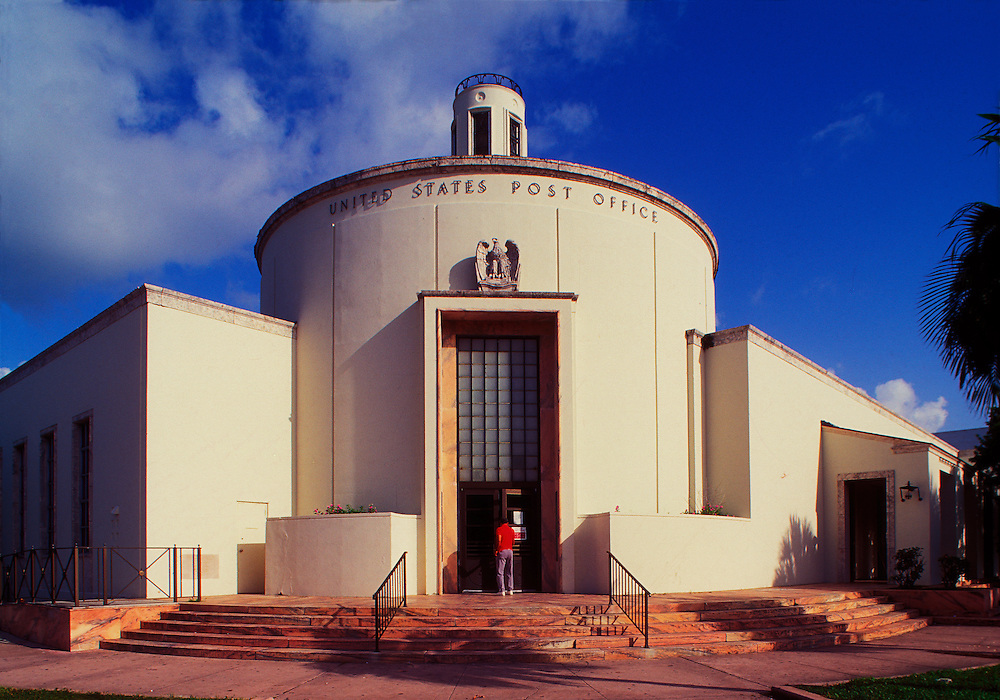 The Art Deco, Depression Moderne-style, main post office in Miami Beach, Florida, designed by Howard L. Chesney in 1937 and build by President Franklin D. Roosevelt's Works  Progress Administration (WPA) as part of the New Deal. This photograph is from the mid-1990s.<br /> .