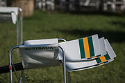 Plovdiv BULGARIA. 2017 FISA. Rowing World U23 Championships.  Australian Blades, resting on the boat sling. <br /> <br /> Wednesday. AM, general Views, Course, Boat Area<br /> 09:10:18  Wednesday  19.07.17   <br /> <br /> [Mandatory Credit. Peter SPURRIER/Intersport Images].