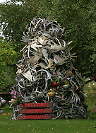 10th September 2008, Wasilla, Alaska. A pile of antlers in the driveway of Alaskan Governor, Sarah Palin's parents home. Palin is the US Republican Vice Presidential pick. PHOTO © JOHN CHAPPLE / REBEL IMAGES.tel: +1-310-570-910