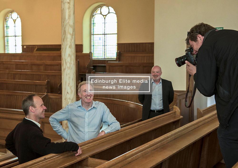 Environment Secretary, Roseanna Cunningham MSP, was in Portobello today to meet the Action Porty community right-to-buy group to mark the Scottish Government giving consent to proceed with the first community right to buy in an urban area. Pictured:Rev Dr Stewart Weaver, Ian Cooke<br /> <br /> <br /> © Jon Davey/ EEm