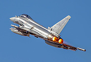Italian Air force Eurofighter Typhoon in flight. A twin-engine, canard-delta wing, multirole fighter.