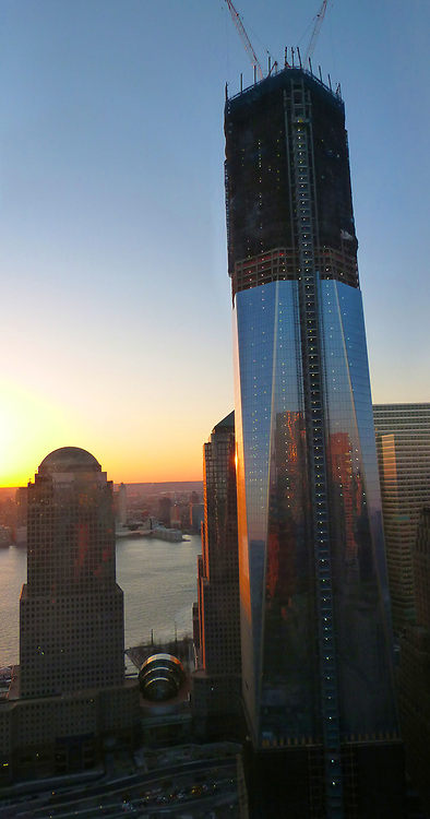One World Trade Center (previously coined the 'Freedom Tower' will rise to 1,368 feet (417 m), the height of the original World Trade Center north tower, and its antenna will rise to the symbolic height of 1,776 feet (541 m). The antenna's height refers to 1776, the year in which the United States Declaration of Independence was signed. Re-built aftre the terrorist attack on the World Trade Centre, at Ground Zero, New York, in september 2011.