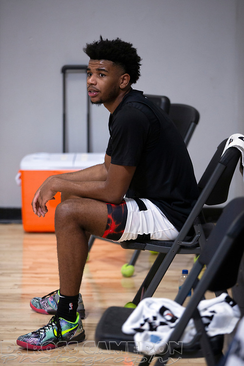 G League Ignite's Jaden Hardy takes a breather between drills with the team on Tuesday, Sept. 28, 2021 in Walnut Creek, Calif.