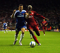 Djibril Cisse Liverpool/Mario Tokic Grazer A.K<br />Liverpool V Grazer AK 24/08/04<br />UEFA Champions League Qualifier 3rd Round 2nd Leg Anfield<br />Photo Robin Parker Fotosports International