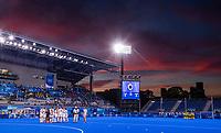 TOKIO - Oi stadion met mooie lucht  tijdens de hockey finale mannen, Australie-Belgie (1-1), België wint shoot outs en is Olympisch Kampioen,  in het Oi HockeyStadion,   tijdens de Olympische Spelen van Tokio 2020. COPYRIGHT KOEN SUYK