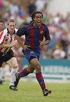 12 August 2003; Ronaldinho De Asis, Barcelona, in action against Derry City. Friendly game, Derry City v Barcelona, Brandywell, Derry. Picture credit; David Maher / SPORTSFILE *EDI*