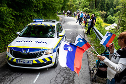 Police car and the flags during 2nd Stage of 27th Tour of Slovenia 2021 cycling race between Zalec and Celje (147 km), on June 10, 2021 in Slovenia. Photo by Matic Klansek Velej / Sportida