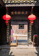 View of the entrance to an old traditional Chinese home, Fenghuang, Hunan Province, China