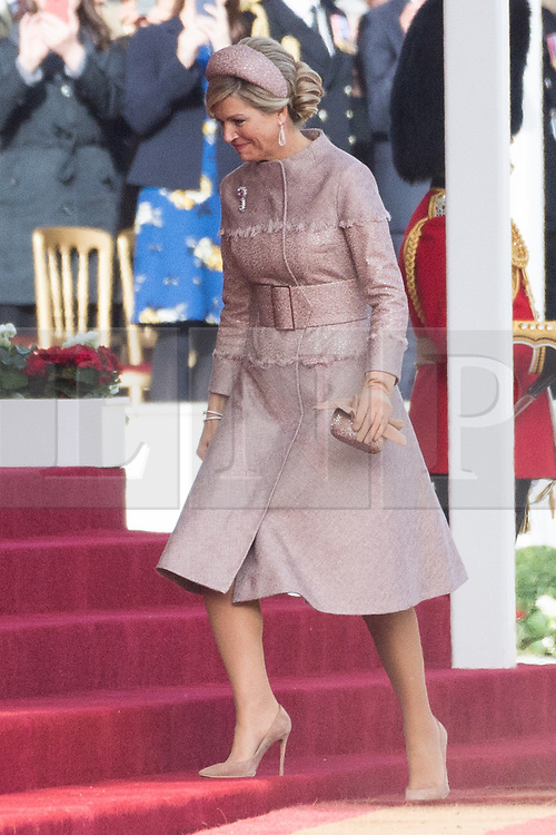© Licensed to London News Pictures. 23/10/2018. London, UK. Her Majesty Queen Maxima of the Netherlands receives a ceremonial welcome at Horse Guard Parade.Photo credit: Ray Tang/LNP