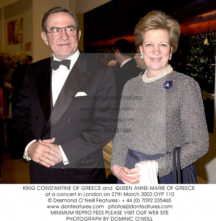KING CONSTANTINE OF GREECE and  QUEEN ANNE-MARIE OF GREECE at a concert in London on 27th March 2002.OYP 110