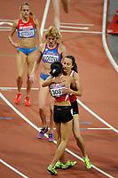LONDON OLYMPIC GAMES 2012 - OLYMPIC STADIUM , LONDON (ENG) - 10/08/2012 - PHOTO : STEPHANE KEMPINAIRE / POOL / KMSP / DPPI<br /> ATHLETICS - WOMEN'S 1500 M - FINAL - GOLD MEDAL - ASLI CAKIR ALPTEKIN (TUR) - SILVER MEDAL - GAMZE BULUT (TUR)
