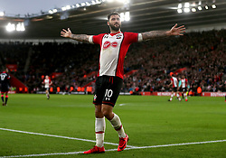 Southampton's Charlie Austin celebrates scoring his side's first goal of the game during the Premier League match at St Mary's, Southampton.