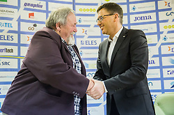 Joze Satler and Roman Dobnikar during press conference when Slovenian athletes and their coaches sign contracts with Athletic federation of Slovenia for year 2016, on February 25, 2016 in AZS, Ljubljana, Slovenia. Photo by Vid Ponikvar / Sportida
