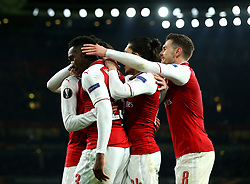 Danny Welbeck of Arsenal celebrates with teammates after scoring a goal to make it 3-1 - Mandatory by-line: Robbie Stephenson/JMP - 15/03/2018 - FOOTBALL - Emirates Stadium - London, England - Arsenal v AC Milan - UEFA Europa League Round of 16, Second leg