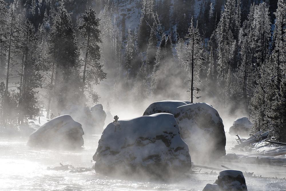 """Christmas Tree Rock"", Firehole River, Yellowstone"