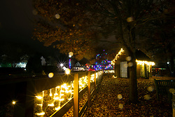 Christmas decor lights up the night along Rehoboth Avenue, Monday, Nov. 26, 2018 in Rehoboth Beach, Del. (Photo by D. Ross Cameron)