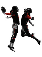 two american football players in touchdown celebration silhouette shadow on white background