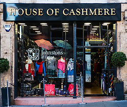 House of Cashmere by Johnstons of Elgin, shop on Royal Mile in Old Town of Edinburgh a typical tourist knitwear shop in Edinburgh, Scotland, United Kingdom.