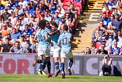 August 5, 2018 - Sergio Aguero of Manchester City celebrates scoring during the 2018 FA Community Shield match between Chelsea and Manchester City at Wembley Stadium, London, England on 5 August 2018. Photo by Salvio Calabrese (Credit Image: © AFP7 via ZUMA Wire)