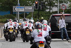 """© Licensed to London News Pictures . 12/07/2014 . Manchester , UK . A """" Free Palestine """" motorcycle convoy at Media City . Thousands of people outside the BBC at Media City in Salford , Greater Manchester , this afternoon (Saturday 12th July 2014) , protesting Israeli actions in Gaza and the Corporation's coverage of the Israeli Palestinian conflict . A convey branded """" Drive for Justice """" travelled from out of the city from Bradford , Blackburn and other regions , to form the protest . Photo credit : Joel Goodman/LNP"""