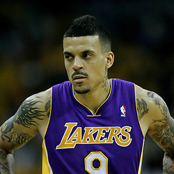 April 22, 2011; New Orleans, LA, USA; Los Angeles Lakers small forward Matt Barnes (9) against the New Orleans Hornets during the first half in game three of the first round of the 2011 NBA playoffs at the New Orleans Arena. The Lakers defeated the Hornets 100-86.   Mandatory Credit: Derick E. Hingle