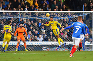Terell Thomas (6) of AFC Wimbledon clears the ball during the EFL Sky Bet League 1 match between Portsmouth and AFC Wimbledon at Fratton Park, Portsmouth, England on 1 January 2019.