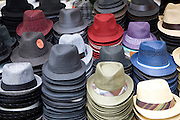 Hats for sale on street market stall, London, England