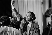 "Attorney William Kunstler speaks at the University of Cincinnati in 1969. William Moses Kunstler was an American lawyer and civil rights activist, known for defending the Chicago 7. Kunstler was an active member of the National Lawyers Guild, a board member of the American Civil Liberties Union (ACLU) and the co-founder of the Law Center for Constitutional Rights, the ""leading gathering place for radical lawyers in the country.""<br />