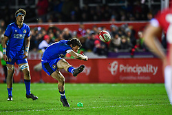 Paolo Garbisi of Italy kicks a penalty<br /> <br /> Photographer Craig Thomas/Replay Images<br /> <br /> U20 Six Nations - Wales v Italy  - Friday 31st January 2020 - Stadiwm Zip World (Parc Eirias) - Colwyn Bay<br /> <br /> World Copyright © Replay Images . All rights reserved. info@replayimages.co.uk - http://replayimages.co.uk