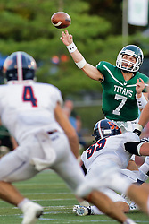 {BLOOMINGTON, IL: Brandon Bauer during a college football game between the IWU Titans  and the Wheaton Thunder on September 15 2018 at Wilder Field in Tucci Stadium in Bloomington, IL. (Photo by Alan Look)