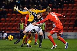 Bristol City Defender Aden Flint (ENG) is challenged by Leyton Orient Defender Gary Sawyer (ENG) - Photo mandatory by-line: Rogan Thomson/JMP - 07966 386802 - 11/02/2014 - SPORT - FOOTBALL - The Matchroom Stadium, London - Leyton Orient v Bristol City - Sky Bet Football League 1.