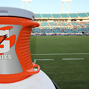 Gatorade G Series coolers sit on the sidelines prior to an international friendly soccer match between Scotland and the United States at EverBank Field on Saturday, May 26, 2012 in Jacksonville, Florida.  The United States won the match 5-1 in front of 44,000 fans. (AP Photo/Alex Menendez)