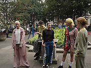 Katie Green, (  designer; )  Models from Amo casting modeling clothes by Keji in Soho, September 2016