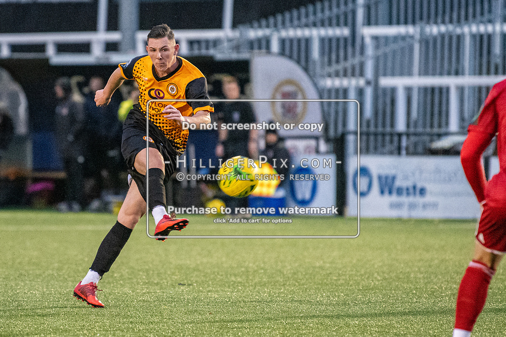 BROMLEY, UK - NOVEMBER 02: Lee Lewis, of Cray Wanderers FC, fires a free kick wide during the BetVictor Isthmian Premier League match between Cray Wanderers and Worthing at Hayes Lane on November 2, 2019 in Bromley, UK. <br /> (Photo: Jon Hilliger)