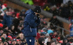 Watford manager Javi Gracia looks dejected during the Premier League match at Anfield, Liverpool.
