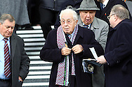 Former chairman of Aston Villa Doug Ellis takes his seat in the stands. Barclays Premier League match, Everton v Aston Villa at Goodison Park in Liverpool on Saturday 21st November 2015.<br /> pic by Chris Stading, Andrew Orchard sports photography.