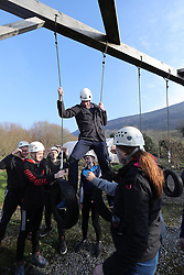 The Duke of Cambridge on an obstacle course during his and the Duchess of Cambridge's visit to Roscor Youth Village, Co Fermanagh as part of their two day tour of Northern Ireland.