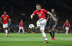 Manchester United's Luke Shaw has a shot on goal during the UEFA Champions League match at Old Trafford, Manchester.