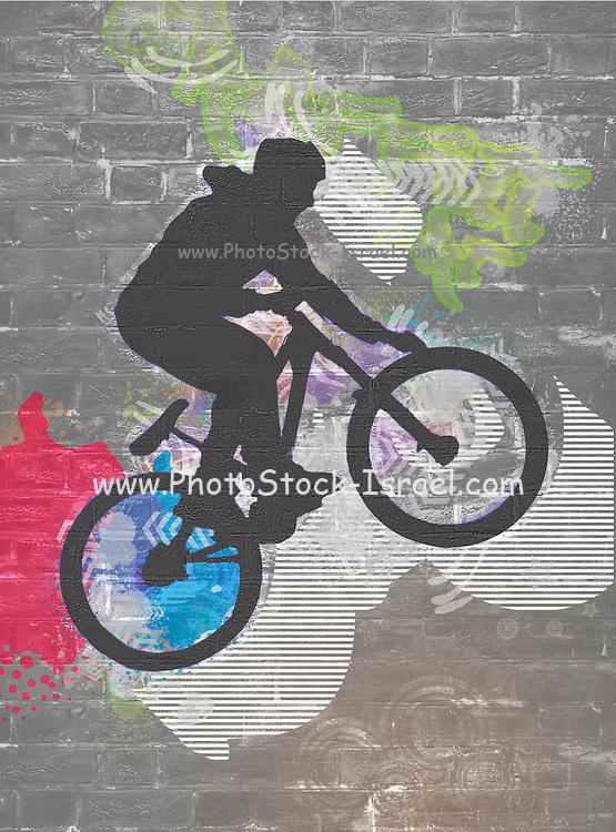 wall graffiti image of a bicycle stunt